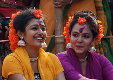 Girl dance performers at spring festival. KOLKATA , INDIA - MARCH 16, 2014 : Girl dance performers enjoying themselves before dancing starts. Spring festival is Royalty Free Stock Photos