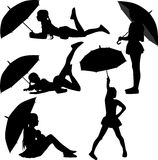 Girl dance with umbrella. Silhouette vector Stock Photo