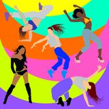 Girl dancer athletic club clubbers clubbing Stock Images