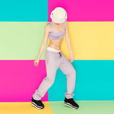 Girl dancer on bright background. Stock Photo