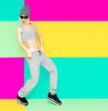 Girl dancer on bright background. Royalty Free Stock Image