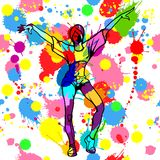 Girl dancer with colorful ink and paint splashes. Vector illustration - beautiful girl dancer with sportive body in bright style with colorful ink and paint Royalty Free Stock Photography