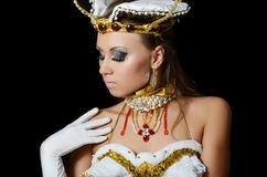 The girl-dancer in a costume of the empress Royalty Free Stock Images