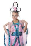 The girl-dancer in a costume of the Japanese Royalty Free Stock Image