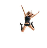 Girl dancer in fly Stock Photography