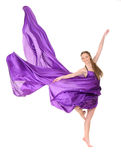 Girl dancer in flying dress Stock Photos