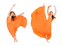 Girl dancer in flying dress Stock Images