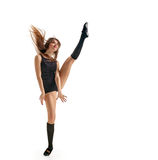 Girl dancer foot up Royalty Free Stock Image