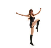 Girl dancer foot up Royalty Free Stock Photography