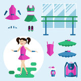 Girl dancer and items. Royalty Free Stock Image