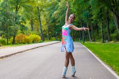 Girl dancer stands on tiptoes, ballet pirouette Royalty Free Stock Photos
