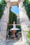 Girl dancer stands on tiptoes, ballet pirouette Stock Photography