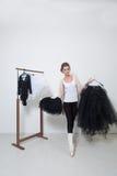 Girl dancer before Training. Choose Your clothes. Ballerina stock photos