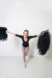 Girl dancer before Training. Choose Your clothes. Royalty Free Stock Photo