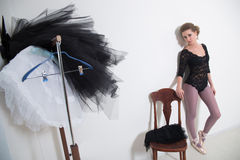 Girl dancer before Training. Choose Your clothes. Stock Image