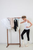 Girl dancer before Training. Choose Your clothes Stock Images