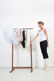 Girl dancer before Training. Choose Your clothes Stock Image