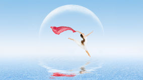 Girl dancer on water surface Stock Photography