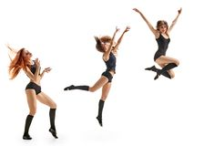 Girl dancers triplets Stock Photos