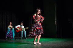 The girl dances during a performance of House Flamenco Flamenqueria Royalty Free Stock Photography