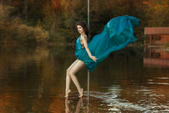 Girl dances a pole dance in the forest on lake. Royalty Free Stock Image