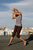 Girl Dancing. On The Roof royalty free stock photography