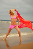 The girl dancing ashore Stock Photos