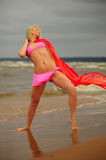 The girl dancing ashore royalty free stock images