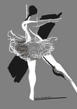 Girl dancing ballet, abstract illustration. Dancer girl, dancing ballet, black and white illustration, gray background Stock Image