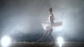 Girl dancing ballet on stage stock video footage