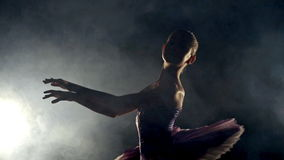 Girl dancing ballet on stage stock footage