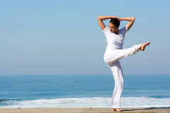 Girl dancing beach Royalty Free Stock Images