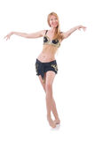 Girl dancing belly dance. On white stock images