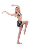 Girl dancing belly dance. On white Stock Image