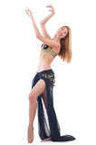 Girl dancing belly dance. On white Stock Photos