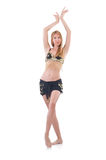 Girl dancing belly dance. On white Royalty Free Stock Image
