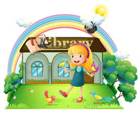 A girl dancing with birds outside the library Stock Photo