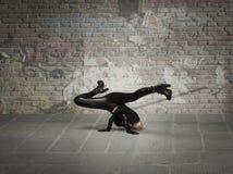 Girl dancing break dance Royalty Free Stock Photo