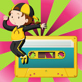 Girl dancing and casette tape Stock Photo