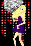 Girl Dancing with Disco Background Stock Photo