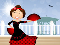 Girl dancing flamenco Royalty Free Stock Images