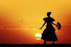Girl dancing Flamenco at sunset Royalty Free Stock Photos