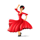 Girl dancing flamenco  on white vector Royalty Free Stock Photography
