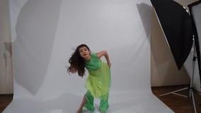 Girl dancing folk dance stock video footage