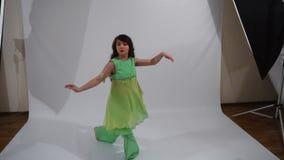 Girl dancing folk dance stock video