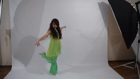 Girl dancing folk dance stock footage