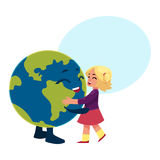 Girl dancing with Globe, Earth planet character Stock Photos