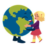 Girl dancing with Globe, Earth planet character Stock Photography