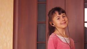 Girl dancing with headphones. stock video