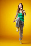 Girl dancing hip-hop Royalty Free Stock Image
